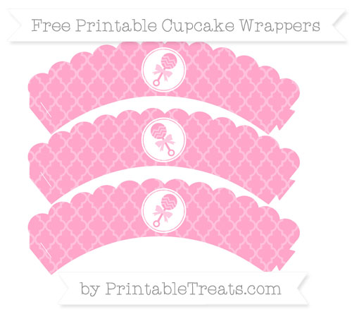 Free Carnation Pink Moroccan Tile Baby Rattle Scalloped Cupcake Wrappers