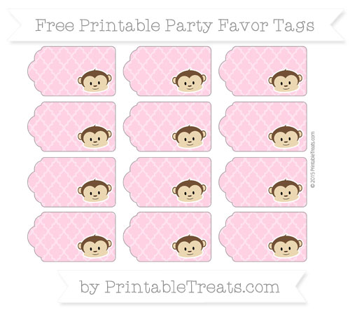 Free Carnation Pink Moroccan Tile Boy Monkey Party Favor Tags
