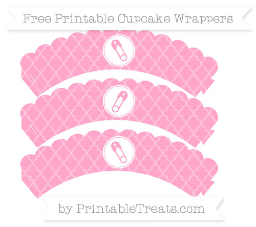 Free Carnation Pink Moroccan Tile Diaper Pin Scalloped Cupcake Wrappers