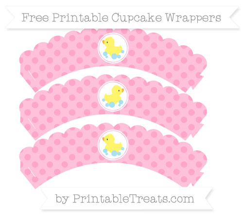Free Carnation Pink Polka Dot Baby Duck Scalloped Cupcake Wrappers