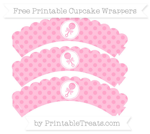 Free Carnation Pink Polka Dot Baby Rattle Scalloped Cupcake Wrappers