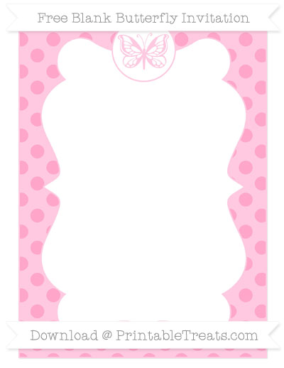 Free Carnation Pink Polka Dot Blank Butterfly Invitation