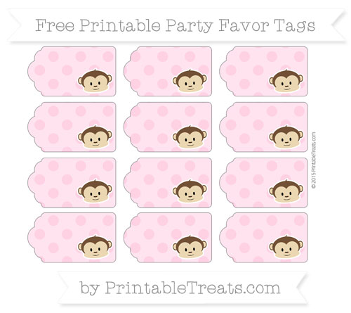 Free Carnation Pink Polka Dot Boy Monkey Party Favor Tags