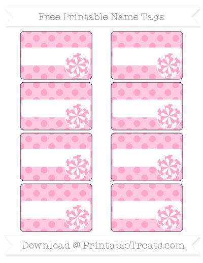 Free Carnation Pink Polka Dot Cheer Pom Pom Tags