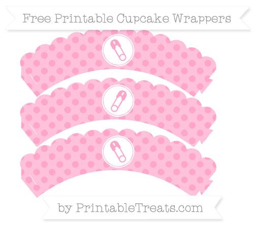 Free Carnation Pink Polka Dot Diaper Pin Scalloped Cupcake Wrappers