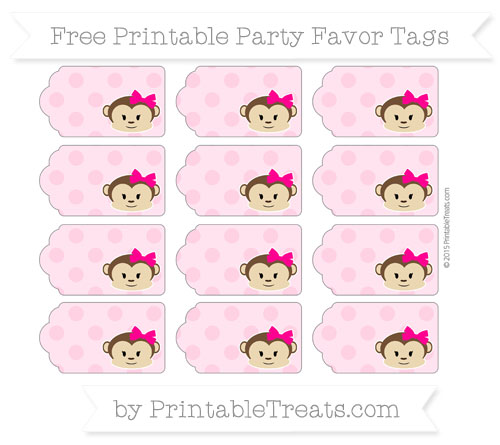Free Carnation Pink Polka Dot Girl Monkey Party Favor Tags