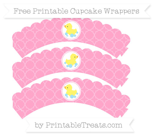Free Carnation Pink Quatrefoil Pattern Baby Duck Scalloped Cupcake Wrappers