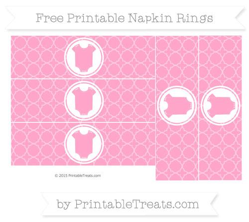 Free Carnation Pink Quatrefoil Pattern Baby Onesie Napkin Rings