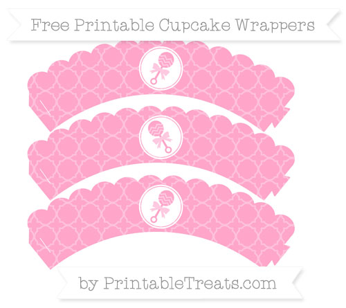 Free Carnation Pink Quatrefoil Pattern Baby Rattle Scalloped Cupcake Wrappers