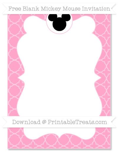 Free Carnation Pink Quatrefoil Pattern Blank Mickey Mouse Invitation
