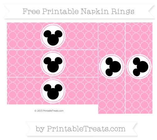 Free Carnation Pink Quatrefoil Pattern Mickey Mouse Napkin Rings