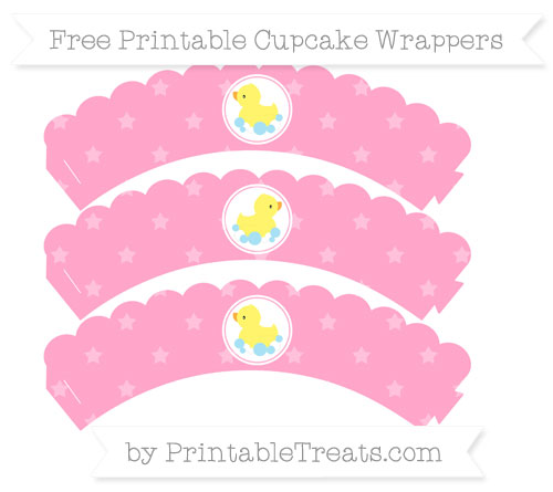 Free Carnation Pink Star Pattern Baby Duck Scalloped Cupcake Wrappers