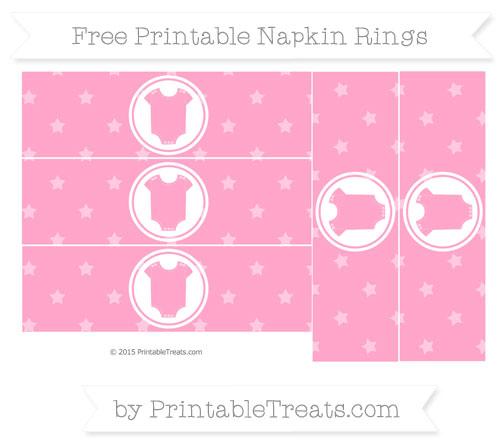 Free Carnation Pink Star Pattern Baby Onesie Napkin Rings