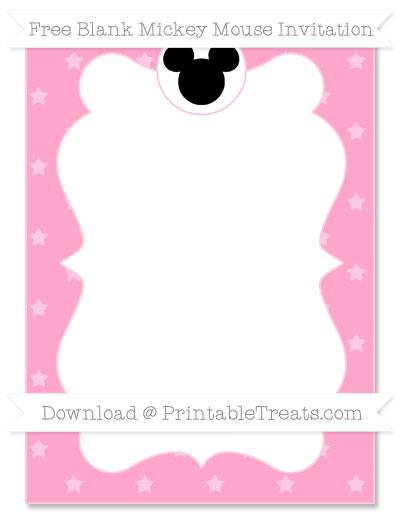 Free Carnation Pink Star Pattern Blank Mickey Mouse Invitation