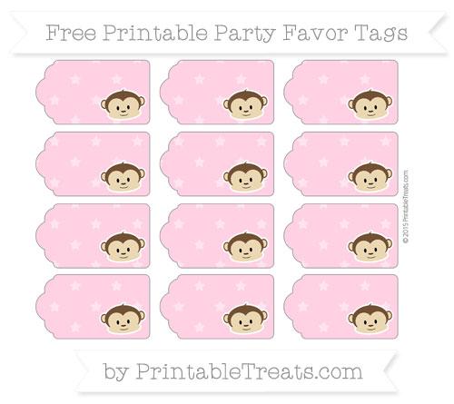 Free Carnation Pink Star Pattern Boy Monkey Party Favor Tags