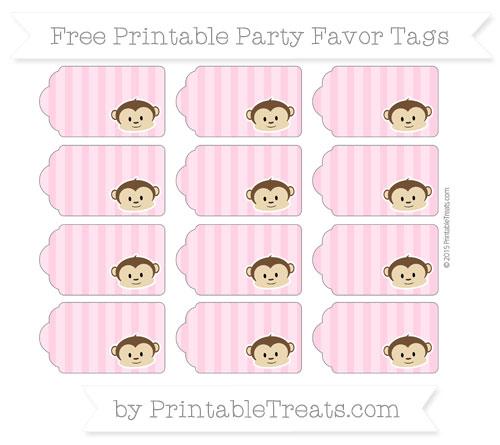 Free Carnation Pink Striped Boy Monkey Party Favor Tags