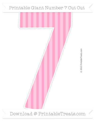 Free Carnation Pink Striped Giant Number 7 Cut Out