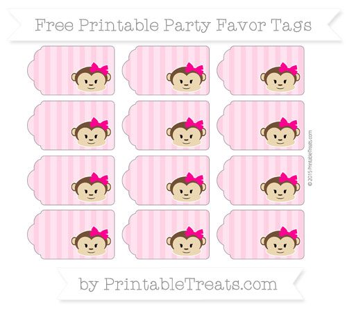 Free Carnation Pink Striped Girl Monkey Party Favor Tags