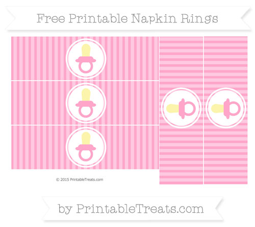 Free Carnation Pink Thin Striped Pattern Baby Pacifier Napkin Rings