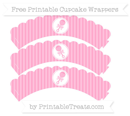 Free Carnation Pink Thin Striped Pattern Baby Rattle Scalloped Cupcake Wrappers