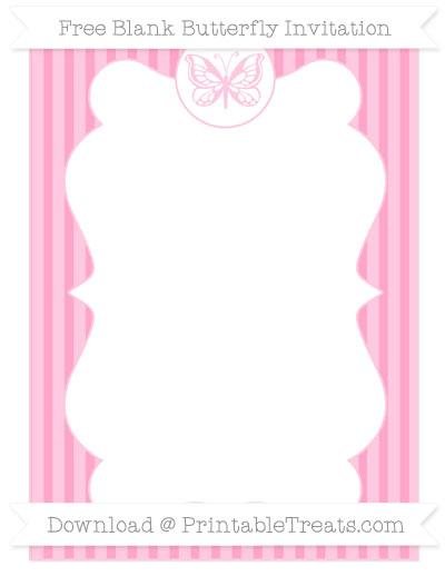Free Carnation Pink Thin Striped Pattern Blank Butterfly Invitation