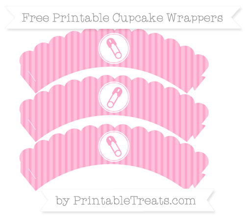 Free Carnation Pink Thin Striped Pattern Diaper Pin Scalloped Cupcake Wrappers