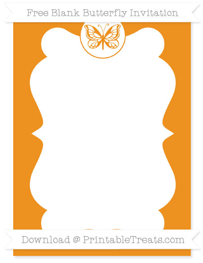 Free Carrot Orange Blank Butterfly Invitation