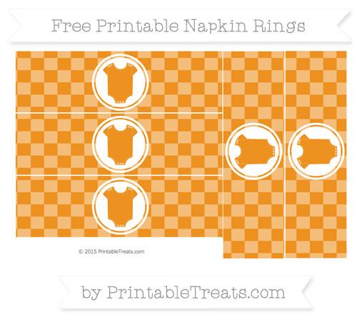 Free Carrot Orange Checker Pattern Baby Onesie Napkin Rings