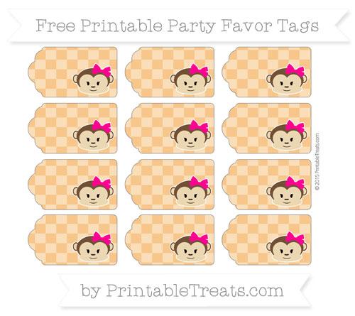 Free Carrot Orange Checker Pattern Girl Monkey Party Favor Tags