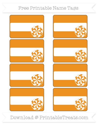 Free Carrot Orange Cheer Pom Pom Tags