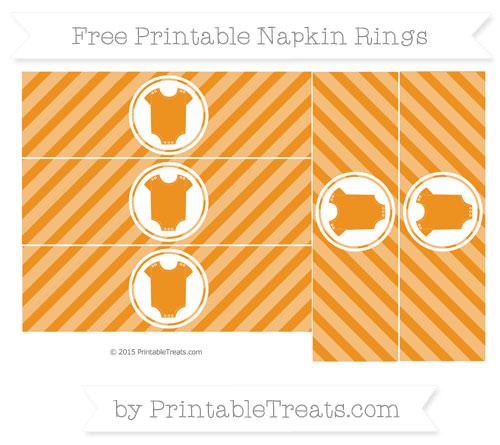 Free Carrot Orange Diagonal Striped Baby Onesie Napkin Rings