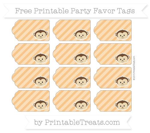 Free Carrot Orange Diagonal Striped Boy Monkey Party Favor Tags