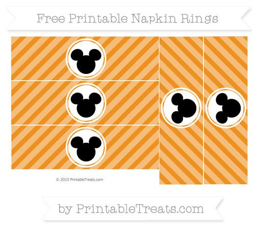 Free Carrot Orange Diagonal Striped Mickey Mouse Napkin Rings