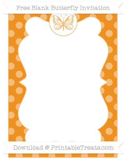 Free Carrot Orange Dotted Pattern Blank Butterfly Invitation