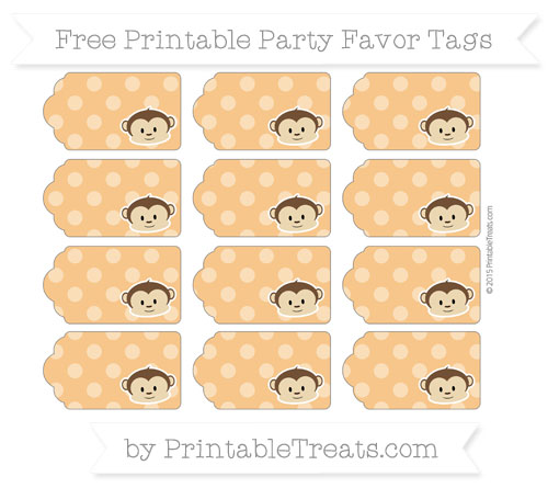 Free Carrot Orange Dotted Pattern Boy Monkey Party Favor Tags