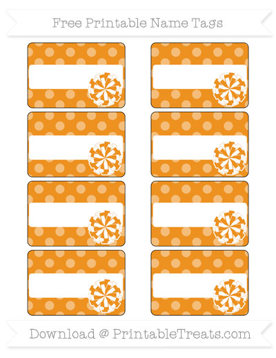 Free Carrot Orange Dotted Pattern Cheer Pom Pom Tags