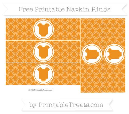 Free Carrot Orange Fish Scale Pattern Baby Onesie Napkin Rings