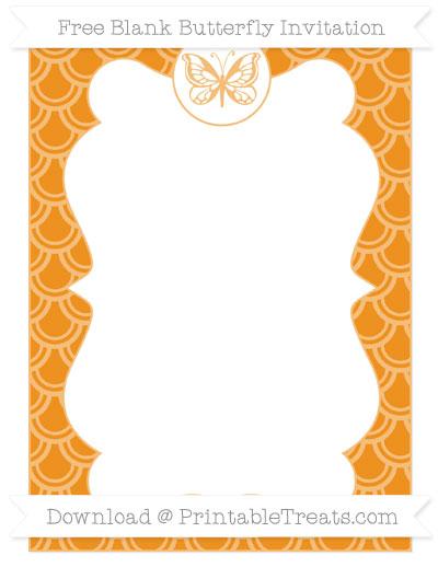 Free Carrot Orange Fish Scale Pattern Blank Butterfly Invitation