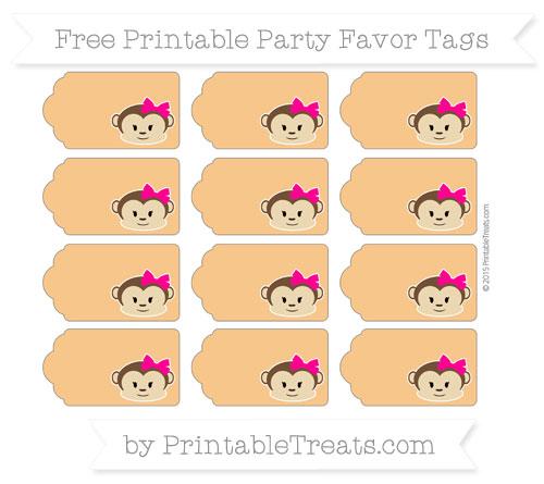 Free Carrot Orange Girl Monkey Party Favor Tags