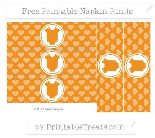 Free Carrot Orange Heart Pattern Baby Onesie Napkin Rings