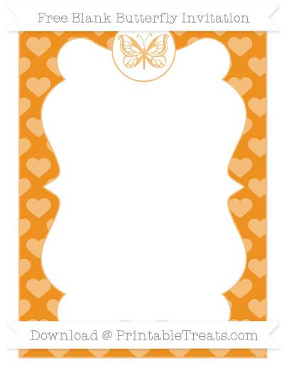 Free Carrot Orange Heart Pattern Blank Butterfly Invitation