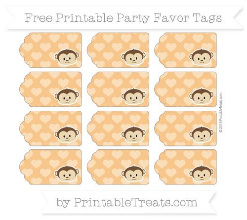 Free Carrot Orange Heart Pattern Boy Monkey Party Favor Tags