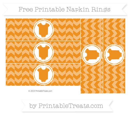Free Carrot Orange Herringbone Pattern Baby Onesie Napkin Rings