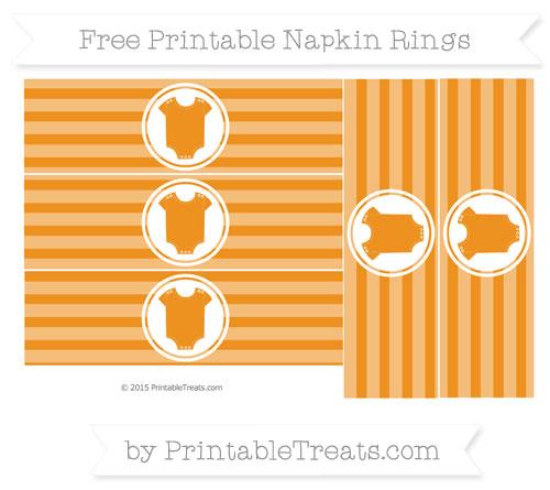 Free Carrot Orange Horizontal Striped Baby Onesie Napkin Rings