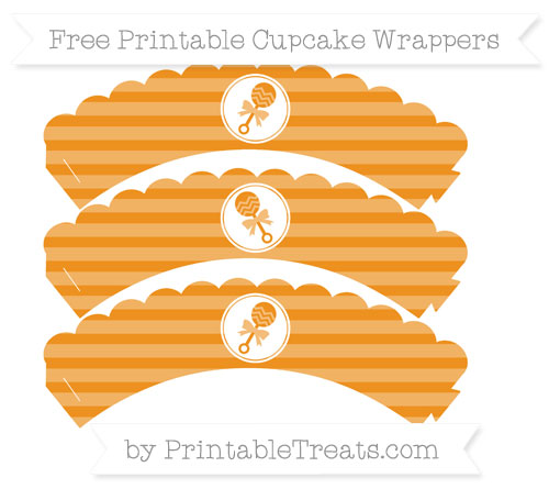 Free Carrot Orange Horizontal Striped Baby Rattle Scalloped Cupcake Wrappers