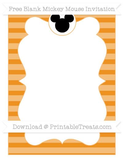 Free Carrot Orange Horizontal Striped Blank Mickey Mouse Invitation