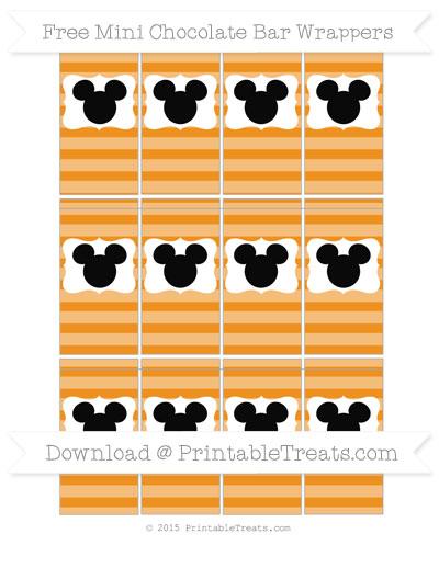 Free Carrot Orange Horizontal Striped Mickey Mouse Mini Chocolate Bar Wrappers