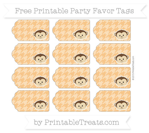 Free Carrot Orange Houndstooth Pattern Boy Monkey Party Favor Tags
