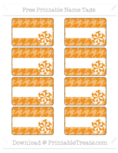 Free Carrot Orange Houndstooth Pattern Cheer Pom Pom Tags