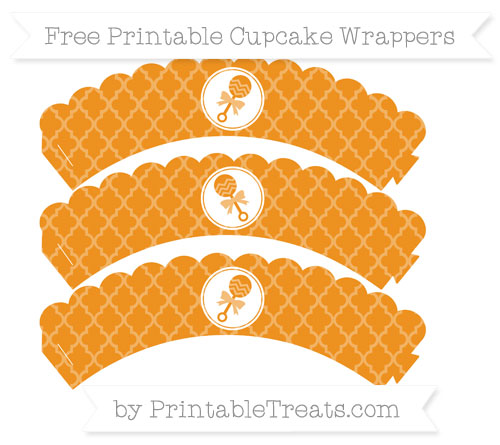 Free Carrot Orange Moroccan Tile Baby Rattle Scalloped Cupcake Wrappers